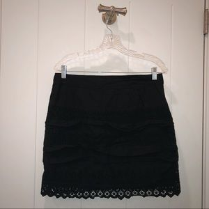 NEVER WORN Black Lace Ruffle A-Line Skirt